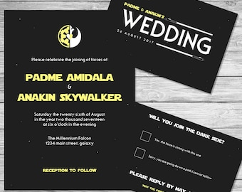 Star Wars Wedding Invitations Star Wars Wedding Invitations