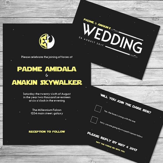Captivating Star Wars Wedding Invitation Set Digital