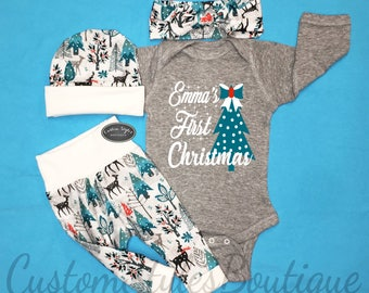 Baby Girls First Christmas Outfit, Coming Home Outfit, Grey Bodysuit, Winter Snow Woodland Leggings, Hat & Headband, Baby Girl, Personalized