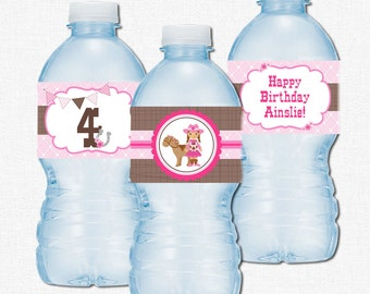Cowgirl Water Bottle Labels, Western Party Decorations, Cowgirl Birthday Bottle Wraps, Pink and Brown
