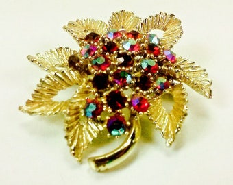 Vintage BSK Red Aurora Borealis Rhinestones Gold Tone Flower Brooch or Pin 1950's