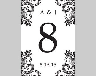 Wedding Table Card Template - 4x6 Flat - Black Damask - Instant Download - Editable MS Word File