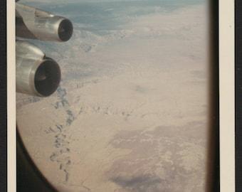 Vintage Color Snapshot Photo Through the Airplane Window Grand Canyon 1960's, Original Found Photo, Vernacular Photography