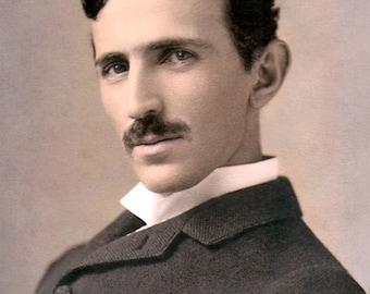 "Nikola Tesla Inventor & Scientist 8x10"" Hand Color Tinted Photograph"