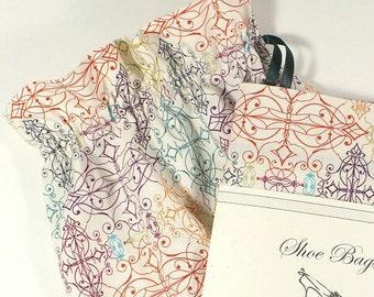 Shoe Bags, Travel bags, multi color, drawstring bags, cotton storage bags, shoe storage, flourish