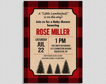 Lumberjack Baby Shower Invitation, Red Flannel Invite, Baby Boy, Plaid, Cabin, Shower Invite, DIY PRINTABLE