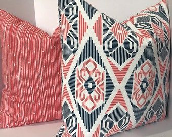 coral Orange and navy blue pillow ,orange striped pillow covers ,orange  white  pillow covers ,Ikat pillow covers set,