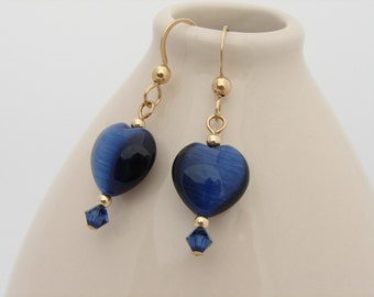 Heart Earrings Navy Blue Earrings Cats Eye Hearts Crystal and Gold Filled