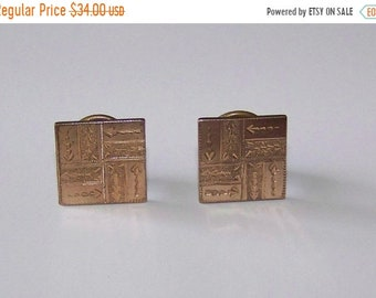 ON SALE Beautiful  VINTAGE Victorian  Cufflinks Cuff Buttons Pat 1881 Etched Design Square