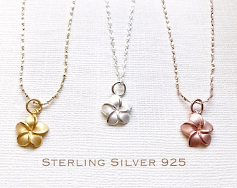 Sale! Sterling Silver plumeria necklace, Plumeria necklace, Hawaiian necklace, Plumeria jewelry, Flower necklace,Bridesmaid gift, Gold plume