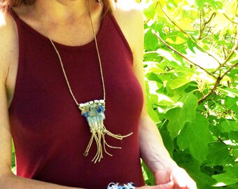 Boho Tapestry Necklace, Hemp Woven Soft Fringed Summer Jewelry, Blue Heart Denim, Silver toned beads