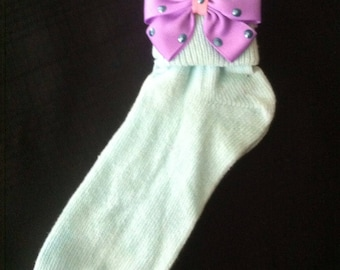 Embellished Ribbon Bow Socks