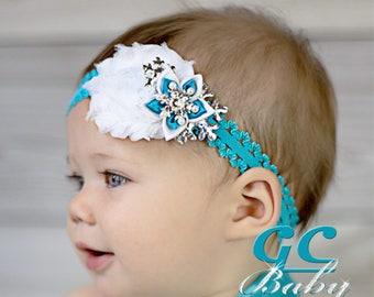 Snowflake Shabby Flower Hair Accessory - Blue, White, Silver, Rhinestones - You Choose Hair Clip, Elastic Headband, Barrette