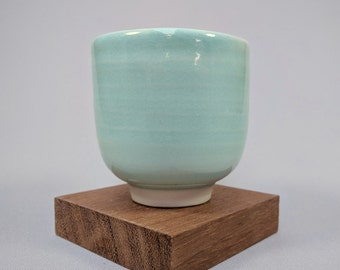 Porcelain Tea Bowl with Turquoise Glaze