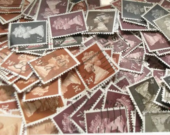 brown, grey & black stamps - used British Machin postage stamp mix, postal ephemera - crafting supply, collage, decoupage, upcycle, collect