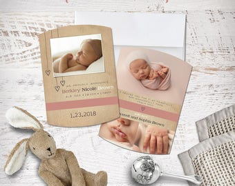 Birth Baby Announcement Photo Card 5x7 Arch Printable or Professional Printing