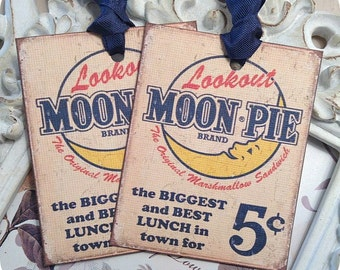 Moon Pie Gift Tags (6) Vintage Style Tags-Vintage Food Ad-Food Gift Tags-Treat Bag Tags-Note Card-Favor Tags-Retro Gift Tags-Retro Ad
