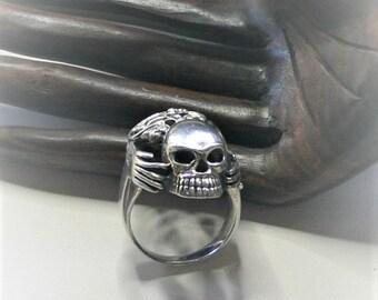 sterling bones skull ring size 11 1/2