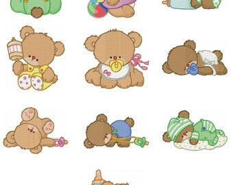 Baby Bear Embroidery Design Zip File Download