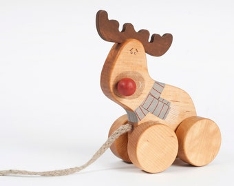 Wooden Deer Toy, Wooden Pull Along Toy, Our First Christmas