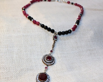 Ruby necklace, Y necklace, red necklace, statement necklace, beaded necklace