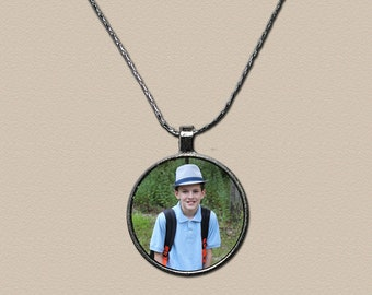 One Inch Round Silver Plated Photo Charm Necklace - Photo Pendant - Photo Jewelry - Gift for Mom - Gift for Her