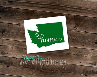 Washington State HOME vinyl decal - exterior window sticker - pick your size and color