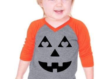 Jack O'Lantern face Pumpkin Heart Eyes Vintage V Neck VNeck Short Sleeve Raglan Halloween Scoop Neck Infant Toddler Girls Youth Fit