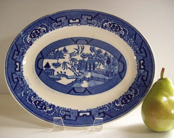 Vintage Blue Willow Serving Platter, Oval Platter, Homer Laughlin Chinoiserie Blue and White China Dishware Serving Piece