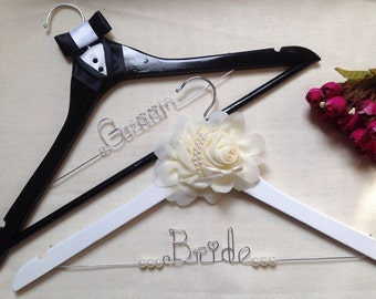 Bride and Groom Hanger Set,Personalized Wedding Hanger,Tuxedo Hanger,Mr and Mrs Hanger,Bride hanger,name hanger,bridal party gifts,girls