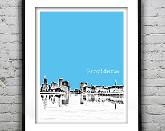 Providence Poster   Rhode Island Skyline Art Print Item T1229