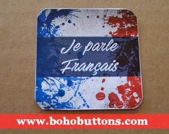 Je Parle Français Square Vinyl Sticker, French Sticker, France Flag Decal, France Decal Sticker, Paris Bumper Sticker, Laptop Decal, Boho