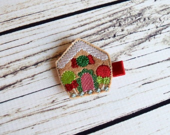 Handcrafted Gingerbread House Feltie Clip - Baby Stocking Stuffer - Small Baby Girl Bows - Brown Red Pink Green - Christmas House Hair Clip
