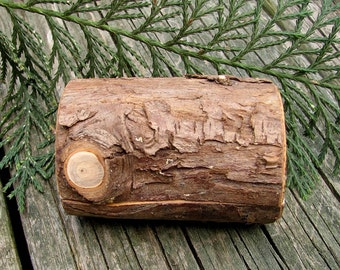 You Are My Chocolate Cake - Miniature Rustic Natural Bark Cypress Log Wooden Box by Tanja Sova