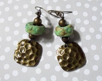 Mint Green and Brass Rustic Ethnic Boho Earrings (3883)