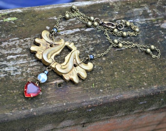 Brass Keyhole Necklace antique architectural salvage