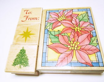 Poinsettia Rubber Stamp Christmas Poinsettia  Stained Glass Rubber Stamp Card Making Scrapbooking Rubber Stamps CHRISTMAS STAMPS