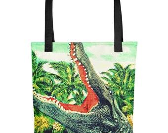 Alligator Tote Bag, Vintage Beach Tote bags , FSU Gifts, FSU Gators Tote Bag, Alligator Gifts, Florida Gators Bag, Alligator Art Tote Bag