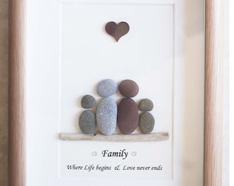 Pebble Art framed Picture- Family, Parents and Children