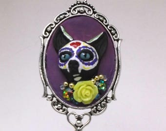 Sugar Skull Cat Head Necklace -Day of Dead, Día de Muertos, gift for her, cool, sister, girlfriend, birthday