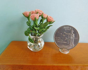 Tiny Glass Vase of Dollhouse Roses for Dollhouse