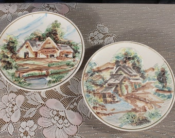 Lefton 2 Wall Hanging Plate Colonial House Bridge Country home with water wheel Hanging Plaque 1960s