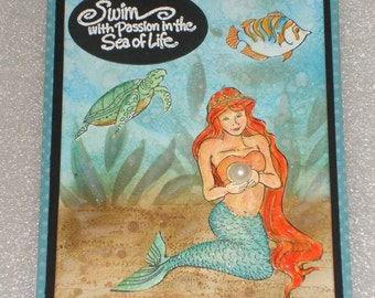 Mermaid Little Mermaid Handmade Greeting Card for All Occasions