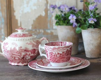 "Pink transferware Coffee trio. "" English Scenery Woodsware"" - British Pink by Wood and Sons. Vintage made in England"