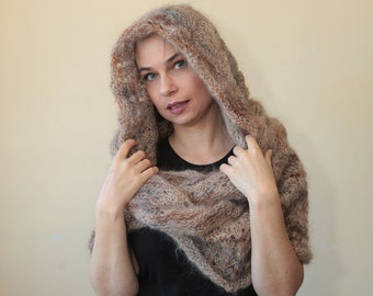 Beige INFINITY HOODED SCARF, Hand Knit Mohair Scarf with Hood by Solandia brown caramel, Christmas Gift