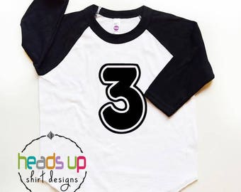 Third Birthday Shirt Toddler Boy/Girl - 3 Birthday Raglan Shirt Kids - Three Bday Tee Boy/Girl - Trendy 3rd Birthday tshirt - Gift - Picture