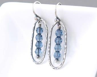 Blue Crystal Earrings Dainty Beaded Earrings Silver Drop Earrings Simple Earrings Gift for Her Unique Crystal Jewelry - Simple Lines