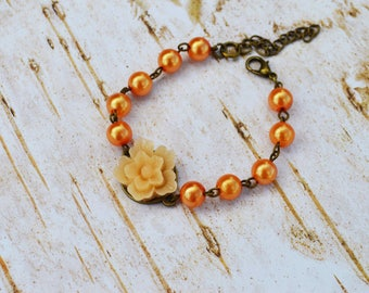 SALE - Orange Sakura Pearls Bracelet, Vintage Flower Pearls Adjustable Bracelet, Wedding Bridal Bridesmaid Bracelet