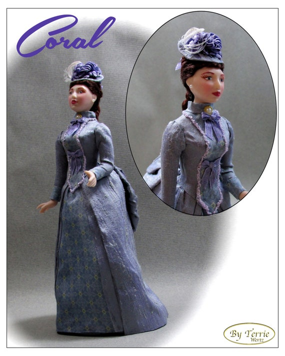 CORAL In Wedding Reception Dress c. 1885 OOAK Porcelain Miniature Doll 1:12 Scale Dollhouse Woman Doll 1 Inch 12th Scale House of Worth Silk