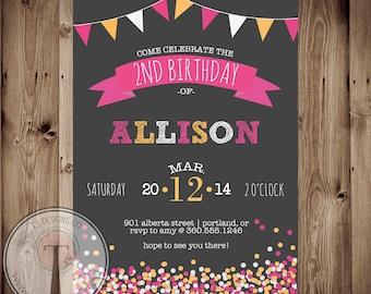 Confetti birthday invitation, chalk, girls birthday, tween birthday,girl birthday invitation, 21st birthday, party invitation